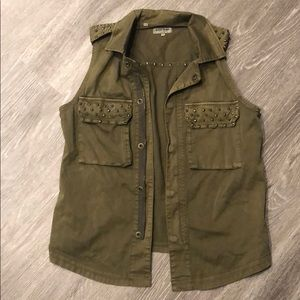 Guess Army Green Faded Studded Vest